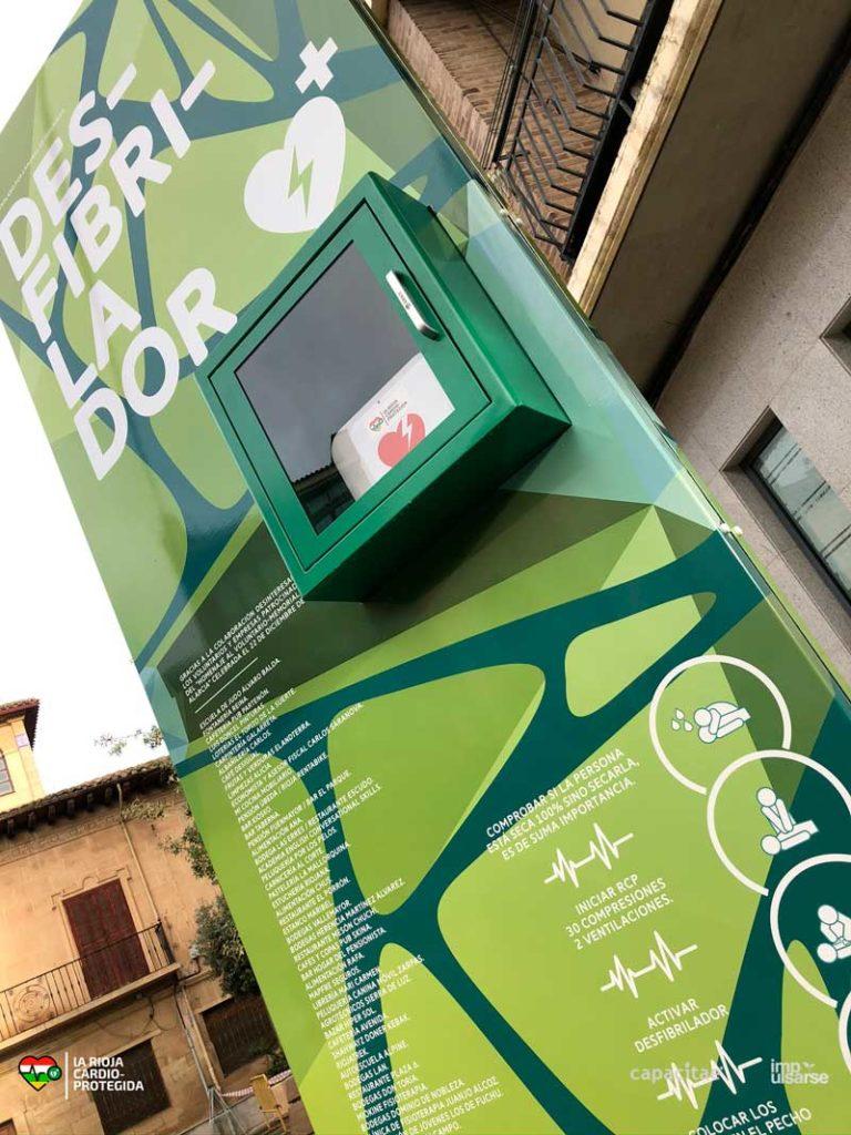 Desfibrilador público en Fuenmayor, municipio adherido a 'La Rioja Cardioprotegida'